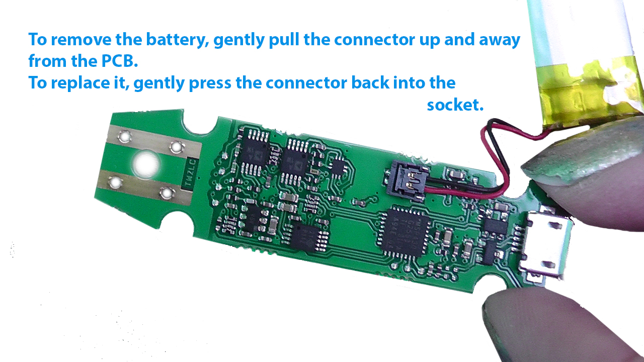 Gently pull the connector up and away from the PCB to remove battery.