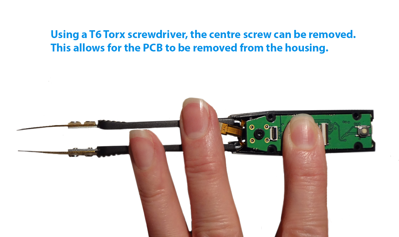 Use a T6 Torx screwdriver to remove the central screw.