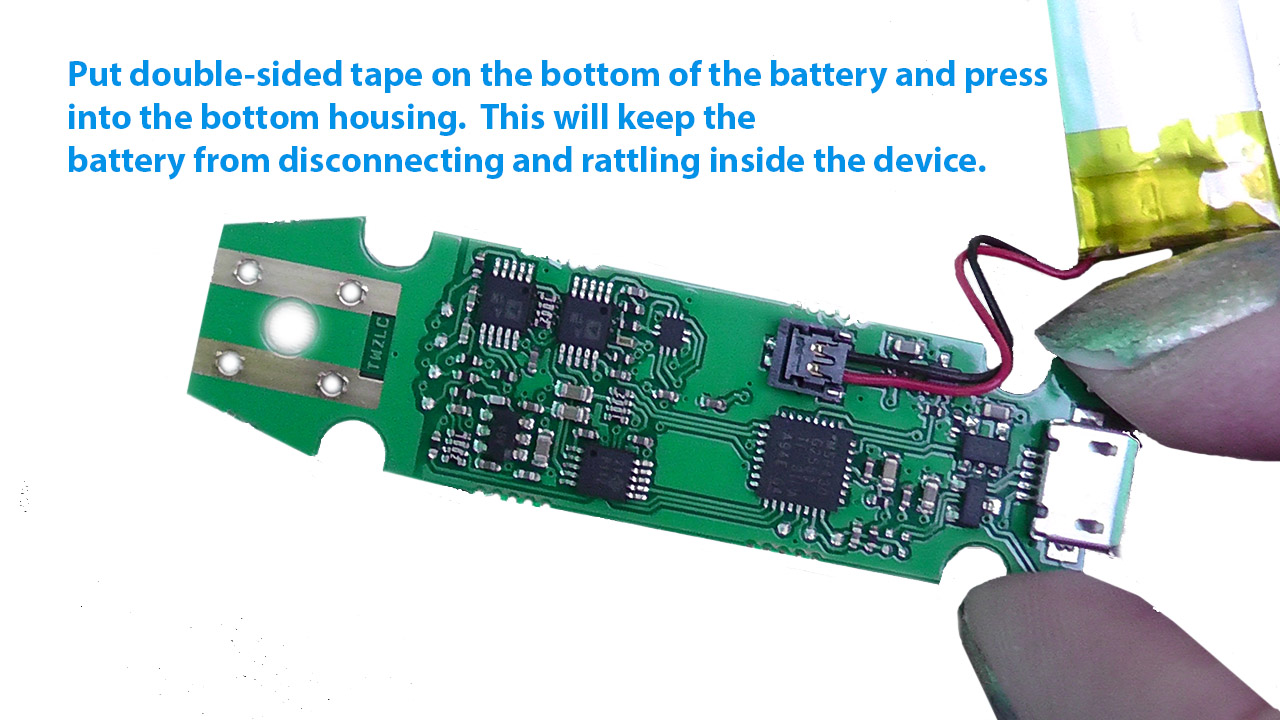 Hold the battery in place using double sided tape
