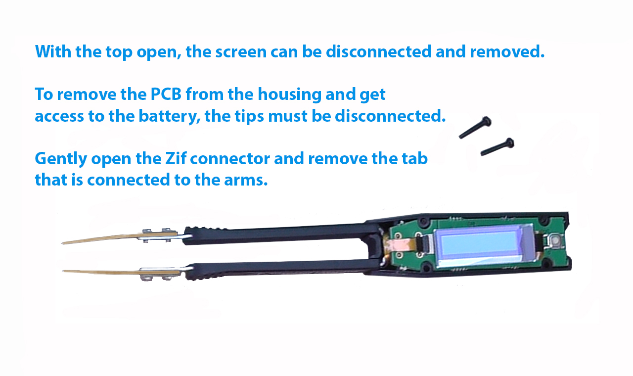 When the top is open, the screen can be disconnected and removed. Remove the centre screw to remove the PCB and access the battery. Gently open the Zif connector to disconnect the arms.